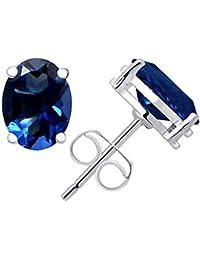 c79940a3ec85 Juego de pendientes de plata de ley 925 con piedra de zafiro azul de Orchid  Jewellery para mujeres y novias