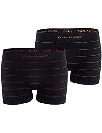 Lot de 2 boxers - microfibres, noir avec des rayures subtiles - pour les hommes
