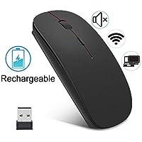 EasyULT Souris sans Fil Rechargeable,Silence Click Wireless Mouse Optique,USB Nano-Récepteur,Ultra Mince 1600 DPI,avec USB câble,pour PC/Tablet/Laptop(Noir)