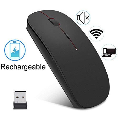 EasyULT Wireless Mäuse Wiederaufladbar Kabellose Maus, 2.4GHz Aufladung Funkmaus, Geräuschlose Schnurlos Optische Mouse mit USB Empfänger für PC/Tablet/Laptop (Schwarz)