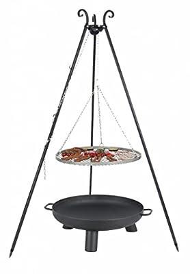 Belladecora® Schwenkgrill Komplett-Set mit Edelstahl-Rost 70 cm, Feuerschale 80 cm, Dreibein 180 cm und Kette