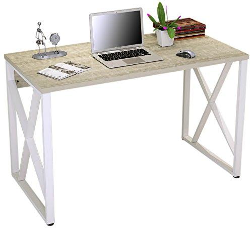 SixBros. Mesa ordenador Roble/Blanco Óptica madera