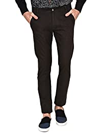 Ruace Men's Olive Green Slim Fit Cotton Trouser