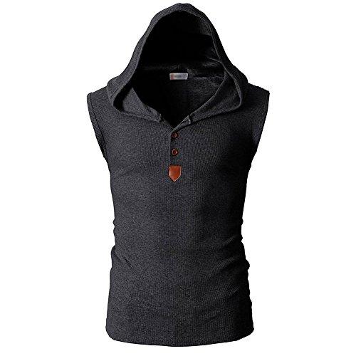Männer Casual T-Shirt Kapuzen-Ärmellos Tank Tops Hoodies (L, dunkelgrau) (Ärmelloses Trainings-shirt)