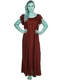 26a842c604 Patrorna Women s Cape Sleeve Shift Nighty Night Dress Gown (Size S-7XL
