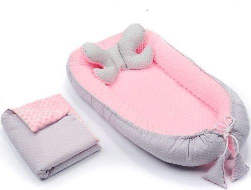 3tlg Babynestchen Babykokon 2seiting MINKY Kokon Nest Babynest + Decke Kissen (Grau mit weißen Punkten/Rosa) -