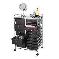 Home Treats Storage Trolley On Wheels   Black 15 Drawer Storage Unit For Salon, Beauty Make Up, Home Office Organiser (15 Drawer, Black)
