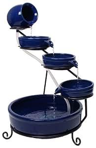 Primrose Ambiente Cascade d'eau solaire en céramique Bleu
