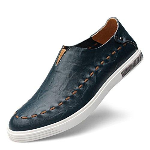 Feidaeu Hommes Mocassins Ultra-léger Cuir Souple Respirent Ourlet Plat Slip-on Conduite Loafers Mode Chaussures Bleu