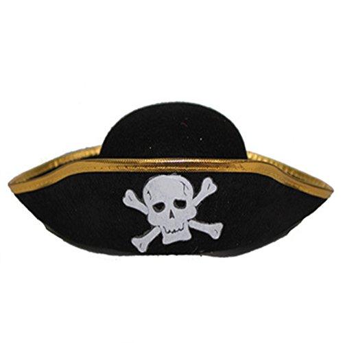 Little Sporter Piratenhut schwarz, Dreispitz, mit Totenkopf, Fasching, -