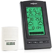 oneConcept Isfjorden estación meteorológica (alarma integrada, pantalla LCD, termómetro, higrómetro, aviso de tormenta, calendario, función despertador, indica hora y fecha)
