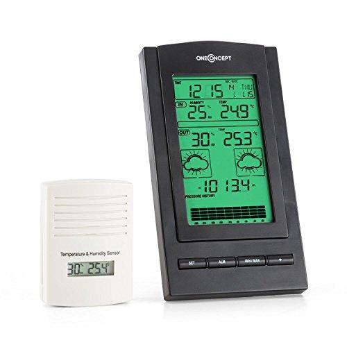 oneConcept Isfjorden • Wetterstation • Funk-Wetterstation • Außensensor • Batteriebetrieb • Wettertendenzanzeige • Alarm-Modus • Sturmwarnung • Barometer • Weckfunktion • LCD-Display • Quick Display Modus • Uhrzeitanzeige • Kalender • schwarz-weiß