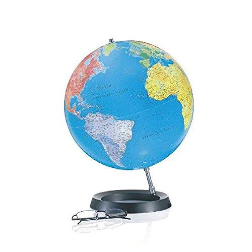 DCFC3  Full Circle 3,: Globus 30 cm Durchm., politische Kartografie, ringförmiger Fuß aus schwarzem Hartgummi, Aluminium-Schrägstütze, Kabel integriert. ATMOSPHERE CLASSIC COLLECTION