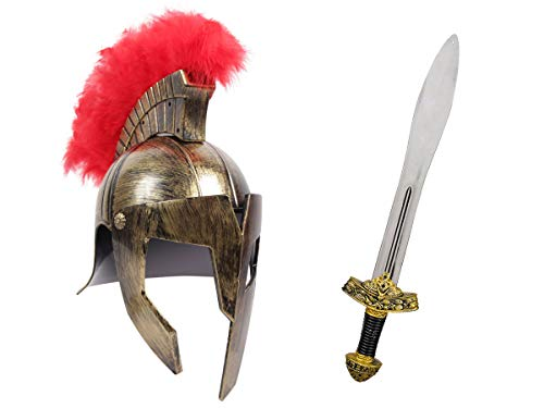 Alsino Römer Krieger Kostüm Accessoires (Kv-155) - mit Gladiatoren Helm in Gold und Ritterschwert, 56 cm lang