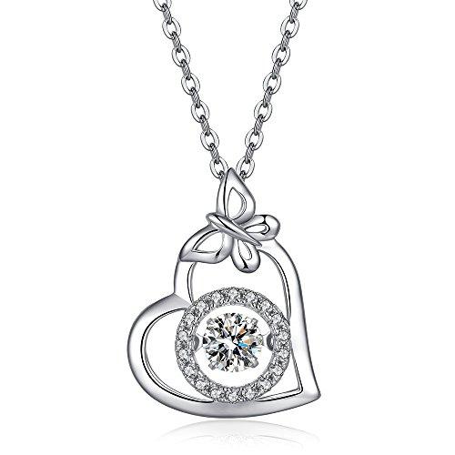 rz Halskette - Sterling Silber Schmetterling Edelstein CZ Anhänger Halskette Extender Kette, Tanzen gefälschte Diamant Halskette Gold überzogene Kette ()