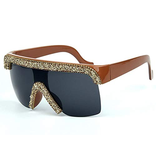 Yuanz Frauen Sonnenbrillen Cat Eye Brillen Half Frame Strass Sonnenbrillen Männer Vintage Shades Uv400,B