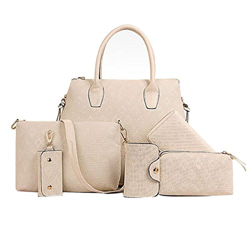 Frauen PU Handtaschen Europa Und US Große Kapazität Schulter Diagonal Tasche Multifunktions Wallet Creamy