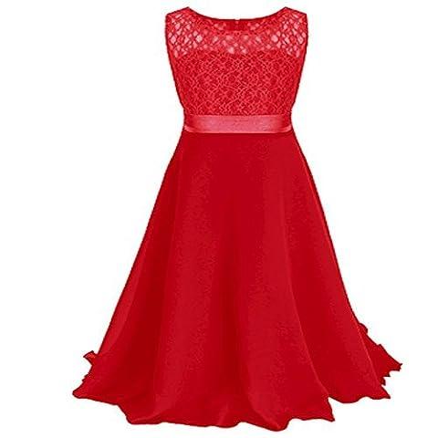 Live It Style It filles long Lacets Robe mousseline de soie robe Floor longueur robe Mariage Demoiselle d'honneur fleur - Rouge, 5-6 Years