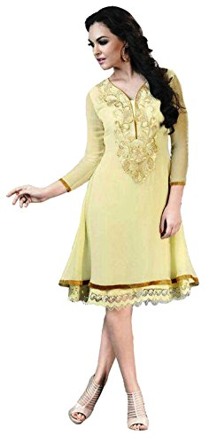 Clickedia Girl's & Women's Beautiful Embroidered Georgette Semi Stitched Yellow Kurti  available at amazon for Rs.499