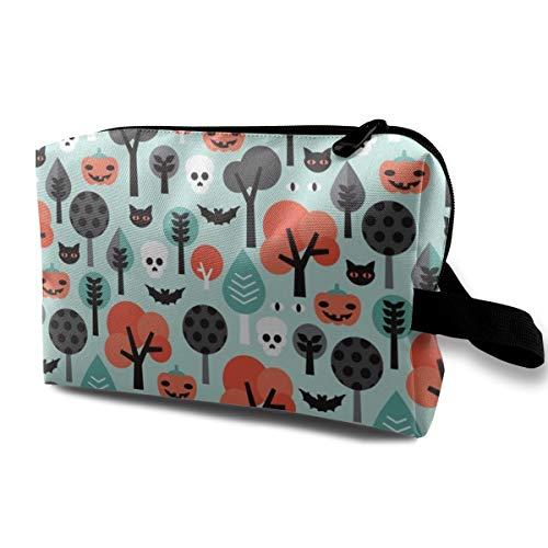 (Verrückte Halloween Kürbis Katze und Schädel Illustration Pattern_9869 Tragbare Reise Make-up Kosmetiktaschen Organizer Multifunktions Fall Taschen für Frauen)