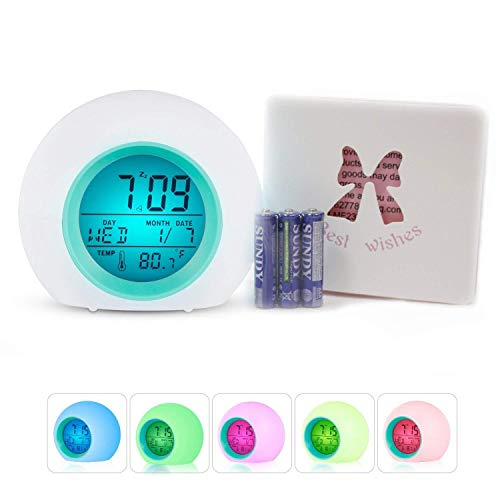 Despertador LED Alarma múltiple Despertador digital Sunrise con luz nocturna multicolor para adultos, niños,