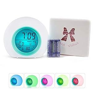 Wecker LED Multi Alarm Digital Sonnenaufgang Wecker mit Multi-bunten Nachtlicht für Erwachsene, Kinder, Kleinkinder, Teens haupttag