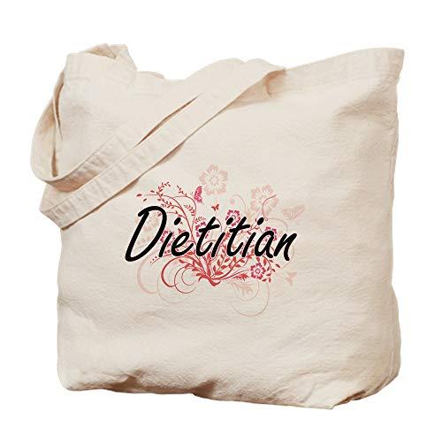 CafePress Dietitian Artistic Job Design mit Blume Natur Canvas Tote Bag Stoff Einkaufstasche