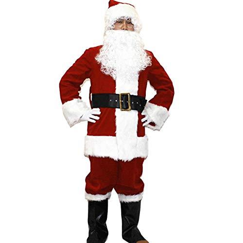 Papamsy 6PcsPlush Weihnachtsmann Anzug Erwachsene Weihnachten Kostüm Phantasie Cosplay ()