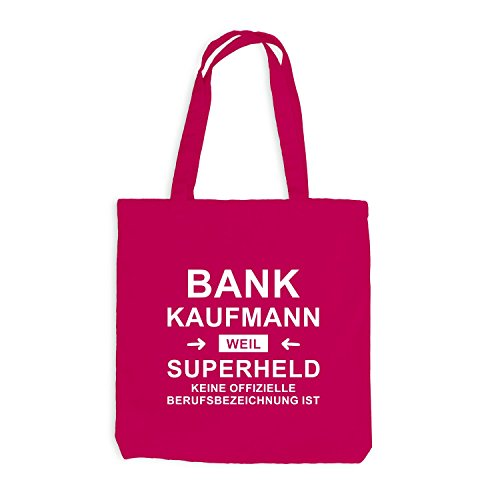 Jutebeutel - Bankkaufmann Superheld - Hero Beruf Pink