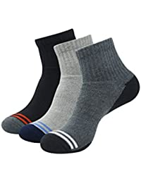 Balenzia Men's Cushioned High Ankle Sports Socks- Black,L.Grey, D.Grey(Pack of 3)