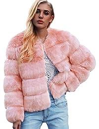 FNKDOR Manteau Femme Epais d hiver Automne Fausse Fourrure Veste Blouson  élégant Chaud Cardigan Fluffy d0d1aa3d4c33