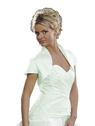 Taft-Bolero zum Brautkleid, ohne Kragen, abgerundetes Revers, gefüttert, leichter Glanz, 3/4 Arm oder Kurzarm zur Wahl Modell E17 creme