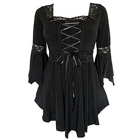 Women's Vintage Long Sleeve Lace Trim Peasant Shirt Blouse (UK 12, Black)