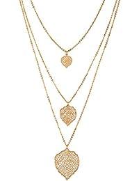 "SIX ""Trend"" Damen Halskette, 3-reihig im Layered-Look, mehrschichtig, Ornament-Blätter, gold (758-023)"