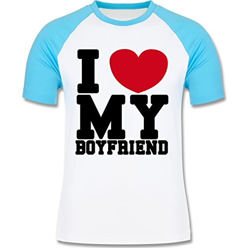Valentinstag - I love my Boyfriend College Schrift - zweifarbiges  Baseballshirt für Männer Weiß/Türkis