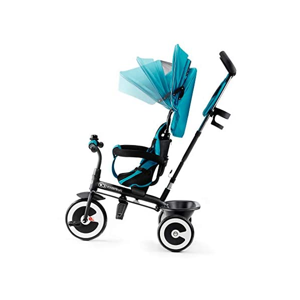 Kinderkraft Aveo KKRASTOTRQ0000 Tricycle with Accessories in 3 Colours Blue kk KinderKraft Five point safety straps for the shoulders and an additional strap between the legs to protect the child from falling out A mechanism that connects the parent handlebar with the child's handlebar so that parents can have full control over the bike guidance when required. Free-wheel that causes the child to rmble freely regardless of the person who leads the bike 8