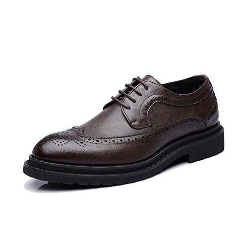 Sunny&baby scarpe brogue da uomo business pu leather upper lace up wingtip decoration outsole oxfords traspirante resistente all'abrasione (color : brown, dimensione : 43 eu)
