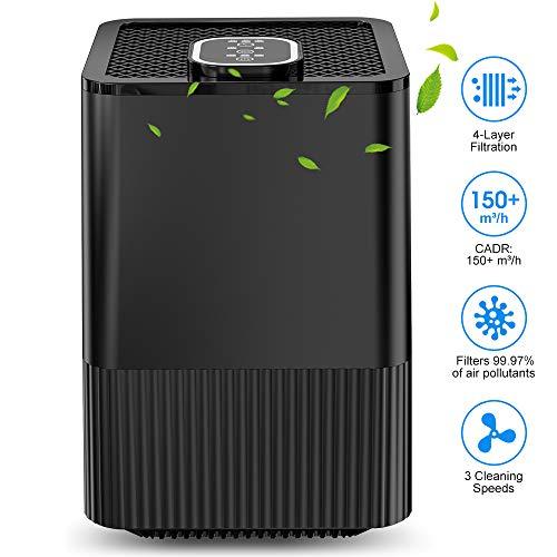 purificador de aire con filtro hepa real y ionizador,limpiador de aire compacto con filtración de 4 capas y función de temporizador, elimina polvo,humo,bacterias,caspa de mascotas, alérgico alérgico