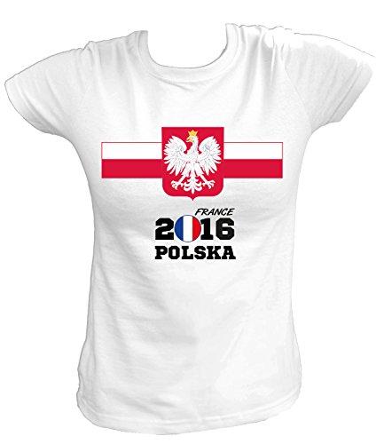 Artdiktat – EM 2016 Polska Fan T- Shirt für Damen Herren Kinder und Babys – Trikot Ersatz – inkl. Wunschname und Nummer EM 2016 Frankreich Damen Größe M, weiß