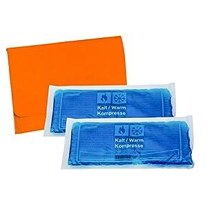 2 Stück Kalt-Warm Kompressen, Gelkissen, Kühlkissen ca. 28,3 cm x 13,3 cm mit praktischer Filz-Tasche 27,5 x 20,0 cm farblich sortiert