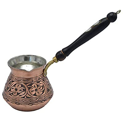 THICKEST Solid Hammered Copper Turkish Greek Arabic Coffee Pot Stovetop Coffee Maker Cezve Ibrik Briki with Wooden Handle, (Large - 15 Oz) - ENGRAVED