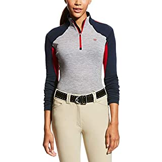 Ariat Cadence Wool Quarter Zip Womens Top Small Navy Red