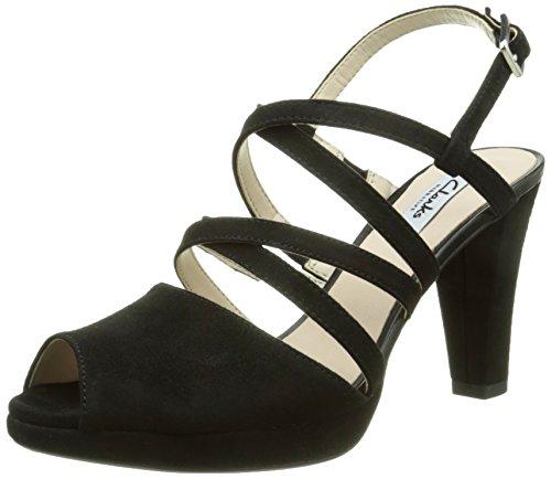 ClarksKendra Cool - Scarpe con Cinturino alla Caviglia donna, Nero (Black Suede), 39 EU