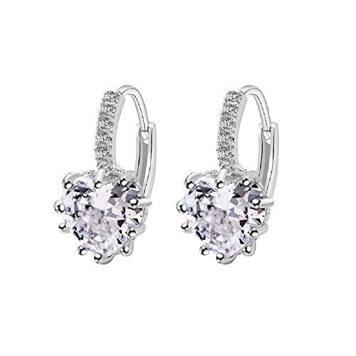 Uloveido Frauen Weiß Erstellt Diamond Heart Shaped Brilliant Schlenker Ohrringe für Mädchen BME131-Weiß