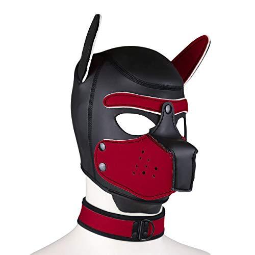Kostüm Reißverschluss Mund - Duzzy Leder Vollmaske Puppy Mask Gepolsterte Welpenhaube Hund Welpe Kapuze Abnehmbarer Mund Kostüm Party Cosplay Unisex M