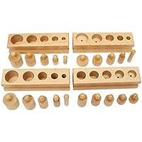 Veroda Montessori Mini Perilla Cilindros Bloques de Madera Familia Set Juguetes (Madera)