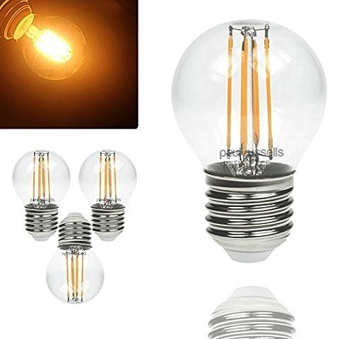 3x vintage Style Edison Schraube LED Filament 4W Klar Antik Golf Light Dekorieren Home G45Kleine runde Globe 360Abstrahlwinkel Lampe E27ES 2700K warm weiß 40W Glühlampe Ersatz [3Stück Leuchtmittel]