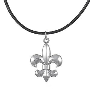 fishhook retro stile medievale Fleur de lis Lily fiore ciondolo collana regalo romantico gioielli