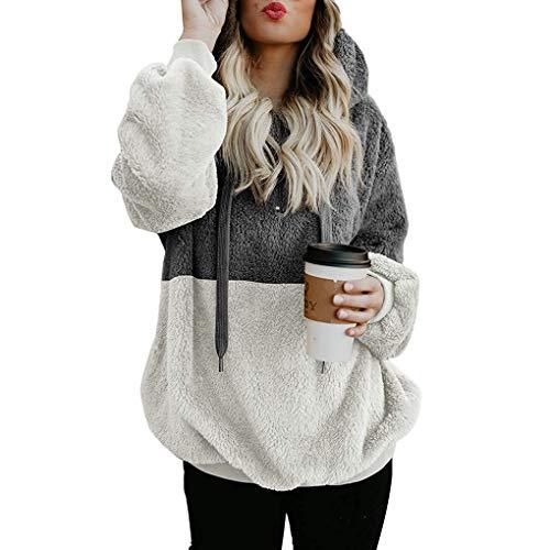 Minetom Kapuzenjacke Damen Herbst Winter Warme Flauschige Top Hoodie Sweatshirt Pullover Jumper Bluse Mantel, Ankunft Angebote X Grau DE 36