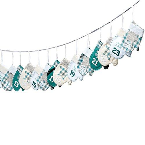 Adventskalender zum Befüllen \'Handschuhe\' Petrol, Mint, grau und weiß L260cm 24 Säckchen mit Aufhängung